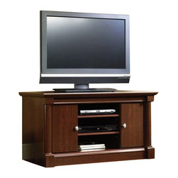 Sauder - Sauder Palladia Mid Size TV Stand in Cherry Finish - Sauder - TV Stands - 411864 - Combining elements of both traditional and contemporary design the Palladia Collection from Sauder Woodworking is a welcome addition to any home. With a rich Select Cherry finish and half and full round architectural columns Palladia brings you classic traditional warmth.