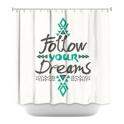 DiaNoche Designs - Shower Curtain Artistic - Follow Your Dreams - DiaNoche Designs works with artists from around the world to bring unique, artistic products to decorate all aspects of your home.  Our designer Shower Curtains will be the talk of every guest to visit your bathroom!  Our Shower Curtains have Sewn reinforced holes for curtain rings, Shower Curtain Rings Not Included.  Dye Sublimation printing adheres the ink to the material for long life and durability. Machine Wash upon arrival for maximum softness. Made in USA.  Shower Curtain Rings Not Included.