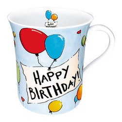 Konitz - Happy Birthday Mugs, Set of 4 - The Happy Birthday mugs come in a set of four and feature a happy birthday salutation amidst colorful balloons.