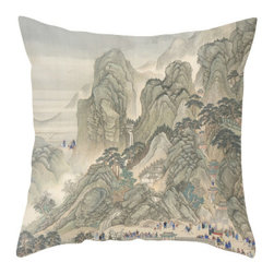 "Poetic PIllow - Emperor's Approach P1 - Wang Hui Qing Dynasty 26"" Euro Pillow - This pillow was inspired by the fine works of art in imperial China. From Tang dynasty to Qing dynasty, we found beautiful calligraphic works depicting botanical floras, cultural traditions, landscape and scenic views. Transform any space with a pillow from Poetic Pillow. Each pillow is inspired by fine works of art and printed on the front and back. Covers are made of pre-shrunk satin-like polyester fabric. All seams are finished to prevent fraying and pillow covers have a knife edge finish. A concealed zipper allows for ease of inputting pillow inserts. Cushion inserts are encased in a cotton cover and filled with 100% duck feather for soft yet supportive feel. All research, design and packaging is completed in Oakland, California."