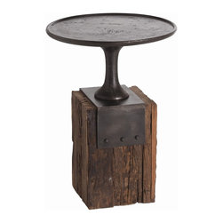 """Arteriors - Anvil Occasional Table - Room suffering from the same old? Forge ahead and reclaim your style status. The rounded and rimmed top is forged from iron and set atop a chunky, textural base made from reclaimed wood. Some call the table """"occasional,"""" but at about 24 inches high, it'll soon become your everyday companion."""