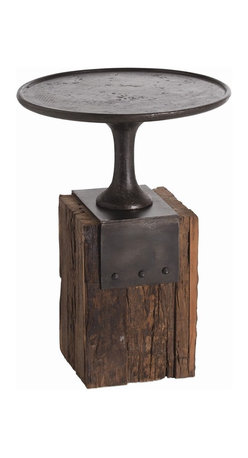 "Arteriors - Anvil Occasional Table - Room suffering from the same old? Forge ahead and reclaim your style status. The rounded and rimmed top is forged from iron and set atop a chunky, textural base made from reclaimed wood. Some call the table ""occasional,"" but at about 24 inches high, it'll soon become your everyday companion."