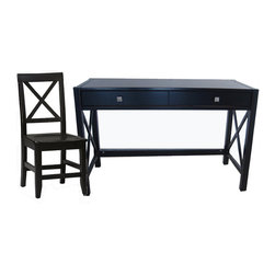 Linon - Linon Anna Wood Writing Desk with Chair Set in Distressed Antique Black - Linon - Computer Desks - 86101005PKG - Whether your style is traditional or modern the stunning Antique Black Finish Anna Desk & Antique Black Finish Anna Chair will blend seamlessly into your decor. Designed to be used as a writing desk or a lap top desk.