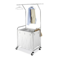 Whitmor - Commercial Laundry Center - Commercial Laundry Center with chromed steel frame and laundry bin with 3 dividers for laundry separation.  This item cannot be shipped to APO/FPO addresses. Please accept our apologies.