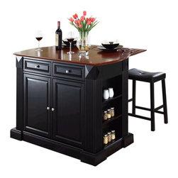 Crosley Furniture - Crosley Coventry Drop Leaf Breakfast Bar Kitchen Island with Stools in Black - Crosley Furniture - Kitchen Carts - KF300074BK