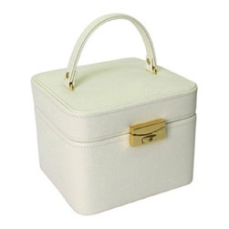 Morelle - Emma Small Leather Jewelry Box, Cream. - Lovely leather jewelry box with compartments for rings, necklaces, bracelets and earrings. Features mirror on inside lid and separate takeout compartment for added organization. Also includes lock and key for safety.
