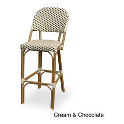None - 'Paris' Indoor/ Outdoor Bamboo Finished Bar Chair - Designed to commercial specifications for resorts,hotels and the discerning homeowner,this weather-resistant chair is great for use in high traffic areas. The powder-coated bamboo finish is lightweight yet very durable and stackable.