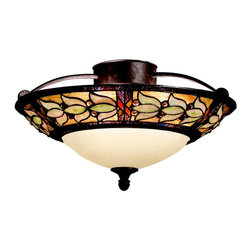 TIFFANY - TIFFANY Art Glass Tiffany Transitional Semi-Flush Mount Ceiling Light X-54096 - Floral inspiration, a Tannery Bronze with Gold Accenting, jeweled accents around the band and iridescent hues, this Kichler Lighting semi flush mount ceiling light from the Art Glass Collection is elegant, traditional and inspired.