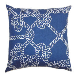 The Pillow Collection - Accalia Coastal Pillow Navy Blue - Bring a modern and sleek twist to your interiors with this stylish accent pillow. This square pillow features a classic chain link print pattern against a navy blue background. Perfect for your living room, bedroom or lounge area, this decor pillow is great for indoor use. Made of 100% high-quality and soft cotton fabric. Hidden zipper closure for easy cover removal.  Knife edge finish on all four sides.  Reversible pillow with the same fabric on the back side.  Spot cleaning suggested.