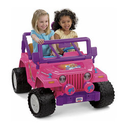 Fisher-Price - Power Wheels Barbie Jammin Jeep - Features: -Jeep. -Gear up for music-filled fun. -Details encourage imaginative role play fun. -Like working doors that really open and close. -A rear storage area to stow all her gear. -A pretend radio with 6 jammin tunes. -Drives two speeds forward (2.5 and 5 mph max). -One speed reverse, on hard surfaces and grass. -Equipped with a high-speed lock out for beginners. -Power Lock® brakes. -For ages 3+.