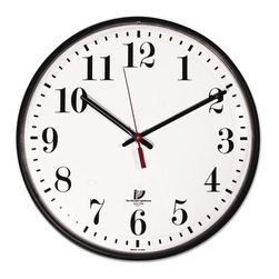 """Chicago Lighthouse - Chicago Lighthouse Quartz Slimline Clock with Protective Cover, 12-3/4"""", Black - Large, easy-to-read numerals with a sleek modern design. Non-yellowing white dial. Top quality movement."""
