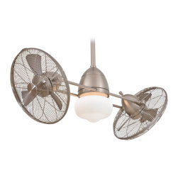 """Minka Aire - Minka Aire F402-BNW Gyro Brushed Nickel Wet 42"""" Dual Outdoor Modern Ceiling Fan - Features:"""