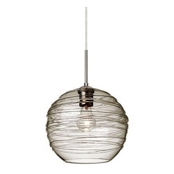 Besa Lighting - Besa Lighting | Wave 10 One Light Stem Pendant - Design by Besa Lighting, 2013.Enjoying a resurgence of stylish artisan glass, the Wave 10 Pendant exhibits a unique shade featuring a wrap of glass rope. No two are the same, as the spiraling glass rope is applied based on the artisan's creative taste. Monopoint Pendant Canopy. Features: