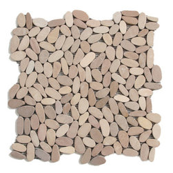 Glass Tile Oasis - Madura Sands Pebbles and Stones Cream/Beige Flat Pebbles Series Tumbled - During manufacturing the pebbles are hand sorted into like colors and sizes and individually glued onto mesh backing. As a result product will vary in size shape and color. Colors represented online may not show full range of variation. It is not unusual to find occasional imperfections veins and lines of separation within the pebbles. This variation is considered to be a desired feature in the product.
