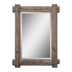 """Grace Feyock - Grace Feyock Claudio Wall Mirror X-53670 - Frame is rustic, light walnut stained wood with burnished details. Mirror features a generous 1 1/4"""" bevel. May be hung either horizontal or vertical."""