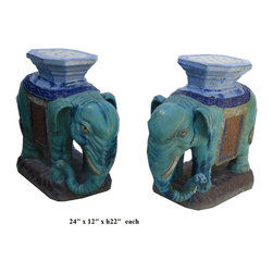 Pair Chinese Ceramic Green Mix Glaze Elephant Figures - This is a traditional Chinese garden figure in elephant shape. The outside is glazed with natural turquoise green color . The back is a platform as a stand or a table base.