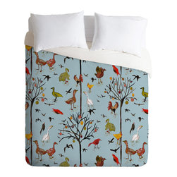DENY Designs - Rachelle Roberts Gathering Of The Webbed Feet Duvet Cover - Turn your basic, boring down comforter into the super stylish focal point of your bedroom. Our Luxe Duvet is made from a heavy-weight luxurious woven polyester with a 50% cotton/50% polyester cream bottom. It also includes a hidden zipper with interior corner ties to secure your comforter. it's comfy, fade-resistant, and custom printed for each and every customer.