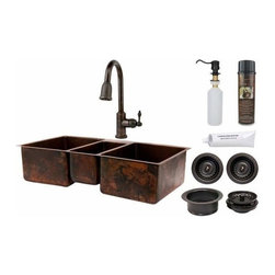 "Premier-Copper-Products - 42"" Copper Triple Basin Sink w/ORB Faucet - KSP2_KTDB422210 Premier Copper Products 42 Inch Hammered Copper Kitchen Triple Basin Sink with ORB Pull Down Faucet, Matching Drains, and Accessories."