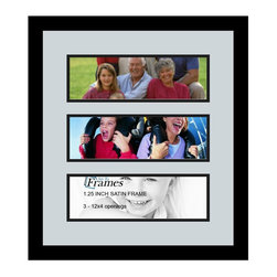 ArtToFrames - ArtToFrames Collage Photo Frame  with 3 - 4x12 Openings - This classic Satin Black, 1.25 inch wide collage frame, comes equipped with an arrangement for 3 - 4x12 photos of your choice. This collage is part of a compilation collage frame selection and boasts a vast line of premium quality frames at a low-cost you can gloat about! Handcrafted and developed to outfit your photos ensuring you 3 - 4x12 art will fit right in. Bordered in a vivid prominent Satin Black, flawless frame and joined by a sophisticated Baby Blue mat, the collage arrangement certainly shows off your original photographs, and best memories in an entirely unique and memorable way. This collage frame comes protected in Regular Glass, easy-to-use with proper hardware and can be presented in the blink of an eye. These premium quality and genuine wood-based collage frames vary in tone and size specifics; all in contemporary and modern design. Mats are available in a bevy of color tones, spaces, and shapes. It's time to tell your story! Preserving your holding onto your memories in an original and imaginative brand-new way has never been easier.
