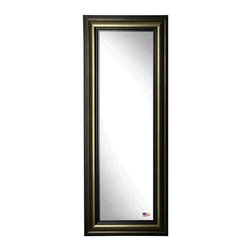 Rayne Mirrors - American Made Stepped Antiqued 24.5 x 63.5 Slender Body Mirror - This stately tall mirror has shades of warm aged metal color tones in its unique rounded profile.  Its distinguished feel it a sure stand out in any decor.  Each Rayne mirror is hand crafted and made to order with American products.  All hardware included for vertical or horizontal hanging, or perfect to lean against a wall.