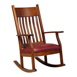 Chelsea Home Furniture - Chelsea Home Yoder Rocker - Pecan Leather - Chelsea Home Furniture proudly offers handcrafted American made heirloom quality furniture, custom made for you.