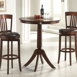 Hillsdale - Canton 3 Pc Set - For residential use. Set includes 1 Table and 2 Stools. Composed of hardwoods and climate controlled wood composites. 360 degree swivel barstools with dark brown faux leather seats, traditional mission back design and simple, tapered and slightly flared legs. Minor assembly required. Table: 36 in. Dia. x 42 in. H. Swivel Bar Stool with Vinyl seat: 18 in. D x 18 in. W x 45.5 in. H. Seat Height: 30 in.The Canton bistro set, in a brown finish. The bar height table compliments the barstools with a slender pedestal base, flared legs, and a round top with a generous apron.