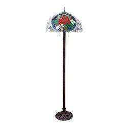 Red Flowers Bedroom Tiffany Floor Lamp - Use Tiffany style floor lamps to add a touch of elegance and stylish to your home or office. This floor lamp has glassic Tiffany-style glass that hand assembled by utilizing the copper foil technique. This brilliant Tiffany style glass floor lamp features a stunning mosaic of flower blossoms and a matching design base as well.