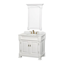 Wyndham Collection - Storage Vanity with Single Sink - Includes matching mirror, natural stone counter and backsplash with porcelain sinks. Faucet not included. Beautiful transitional styling. White under mount sink. White Carrera marble top. Floor-standing linen tower. Hand carved and stained cabinet. Mirror glass thickness: 1 in.. 8 in. widespread three hole faucet mount. Plenty of storage space. Engineered to prevent warping and last a lifetime. Highly water-resistant low V.O.C. finish. Twelve stage wood preparation, sanding, painting and hand-finishing process. Fully extending side-mount drawer slides. Concealed door hinges. Two doors. Metal hardware with antique bronze finish. Warranty: Two years. Made from environmentally friendly, zero emissions solid oak hardwood. White finish. Vanity: 36 in. W x 23 in. D x 35 in. H. Mirror: 28 in. L x 41 in. H (31 lbs.). Cabinet weight: 107 lbs.. Counter weight: 63 lbs.. Sink weight: 13 lbs.. Care InstructionsA new edition to the Wyndham Collection, the beautiful Andover bathroom series represents an updated take on traditional styling. The Andover is a keystone piece, with strong, classic lines and an attention to detail.
