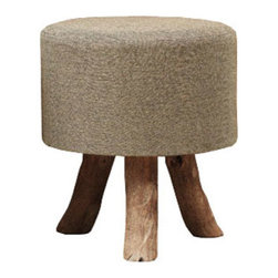 Jute & Wood Linea Stool - Cocoa - Jute and wood make a heavenly pairing. The biodegradable and renewable jute fiber makes a handsome cover for this stool. With three splayed wooden legs and a low but robust profile, this stool could be used in a variety of different interior styles. Place it in the entry and use as a slipper stool, or use it as a reliable extra seat in the living room or bedroom.
