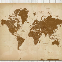 Vintage Style Worldmap Mounted on Foam Board, 20X24 Inches - Move aside boring maps! The word map got a new look!