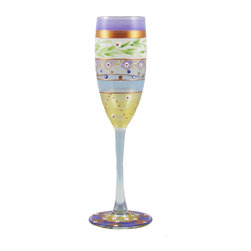 Golden Hill Studio - Mosaic Garland Champagne Glass - Party lights: The glimmer of metallic and multihued designs on this champagne glass help to add sparkle at your next party. No disco ball needed.