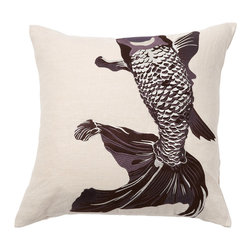 Emma at Home - Whole Baby Fish Pillow, Chocolate - This shimmery fish is so pretty against the natural linen. It looks like he's swimming across the pillow. This would be a pretty addition to an eclectic pillow collection.