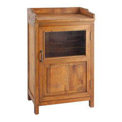 None - Country-Style Display Cabinet - The beautiful and simplistic Display Cabinet from the Perennial Legacy Home series, 100-percent handcrafted from reclaimed solid elm wood. Compact yet roomy interior features a shelf across the middle.