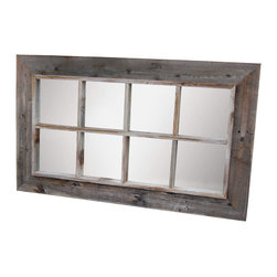 MyBarnwoodFrames - 8 Pane Window Pane Mirror Reclaimed Barnwood 25x45, 3 sizes avail. - Rustic  Mirrors:  Large  Reclaimed  Wood  Barn  Window  Mirror, 25x45 exterior dimensions.   Look  no  further  for  the  rustic  barn  window  mirror  you've  been  looking  all  over  for.  We  start  with  rustic  weathered  barnwood  and  handcraft  it  into  a  beautiful  faux  8-opening  window  pane  frame  and  add  heavy  mirror  to  give  you  a  beautiful  addition  that  will  bring  light,  color,  and  space  into  the  room.  Eco  friendly.  Includes  D-ring  hanging  hardware  and  hangs  horizontally  or  vertically.