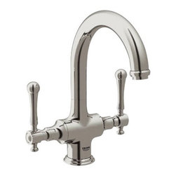 Grohe - Grohe 31 055 EN0 Bridgeford High Profile Dual Handle Bar Faucet in Infinity Brus - The Bridgeford collection reflects the traditional designs of period interiors, furniture and architecture. Featuring historical references, such as the cascading stepped rosettes that surround the base of the levers and spout, the faucet design resonates authenticity. Capturing the relaxed look of country-style interiors, the rolling spout brings a tactile ergonomic quality to the design and emphasizes the hand-crafted look.Available finishes: StarLight Chrome - 31 055 000 Infinity Brushed Nickel - 31 055 ENo Oil Rubbed Bronze - 31 055 ZB07-Inch spout reach