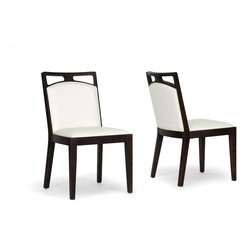 Wholesale Interiors - Pontus Brown Wood and Cream Leather Modern Dining Chairs, Set of 2 - A simple silhouette and contemporary dark brown and white design are the makings of a classic. The Pontus Modern Dining Chair is made in China with lustrous cream bonded leather against a sturdy dark wenge brown wood frame. Comfortable foam cushions and non-marking feet will win you over. The Pontus Designer Dining Chair is fully assembled and should be cleaned with a damp cloth before being dried. A matching Pontus Bar Stool is also available (sold separately). Seat dimensions: 19.5 inches high x 19.75 inches wide x 17 inches deep. Dimensions: 35.5 inches high x 19.75 inches wide x 23.75 inches long.