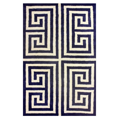 nuLOOM - Contemporary 5' x 8' Blue Hand Tufted Area Rug Greek Key - Made from the finest materials in the world and with the uttermost care, our rugs are a great addition to your home.