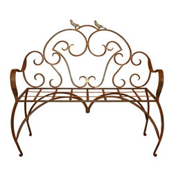 Heather Fields Home & Garden - Wrought Iron Bird Bench - Wrought iron bench with decorative birds. Perfect addition to any: front porch, back yard or entry way. This is a wrought iron bench with a polyurethane clear finish that will need a simple spray of clear paint found at any hardware store every few years depending on your weather. Bench does not come with a cushion but can be ordered through any local upholsterer. Decorative pillows are the most popular choice to personalize this beautiful bench!