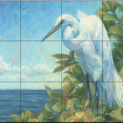 The Tile Mural Store (USA) - Tile Mural - Vantage Point - Lb - Kitchen Backsplash Ideas - This beautiful artwork by Lucie Bilodeau has been digitally reproduced for tiles and depicts a white egret by the shore  Images of waterfowl on tiles are great to use as a part of your kitchen backsplash tile project or your tub and shower surround bathroom tile project. Pictures of egrets on tile, images of herons on tile and decorative tiles with ducks and geese make a great kitchen backsplash idea and are excellent to use in the bathroom too for your shower tile project. Consider a tile mural of water fowl for any room in your home where you want to add interesting wall tile.