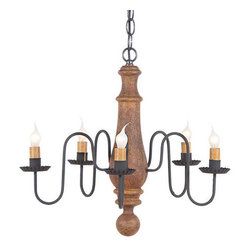 Medium Norfolk Chandelier in Hartford colors, Mustard Over Red - A new color palette for one of our best loved wooden chandelier styles, the Medium Norfolk Chandelier is perfectly suited for above the family table or hanging in the breakfast room. The colors from our Hartford Collection hearken back to the days of colonial America and coordinate well with colonial and primitive decorating styles.