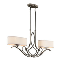 KICHLER - KICHLER 42480OZ Leighton Transitional Kitchen Island / Billiard Light - This 4 light convertable chandelier/semi-flush ceiling light from the Leighton Collection is the epitome of elegant, enduring design. This distinctive style radiates a classic feel with its inviting Olde Bronze(R) Finish and soft, sweeping curves. Yet what really takes center stage is the polished K9 Optical Crystal Accents and pendant-style shades that give it a contemporary edge. Uses 4 100W bulbs or 4 23-30W CFLs. Has an acrylic diffuser.