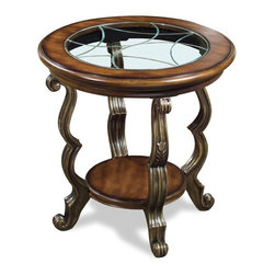 Riverside Furniture - Ambrosia Round Side Table in Terra-Sienna Finish - Tempered glass insert with etched V-groove pattern
