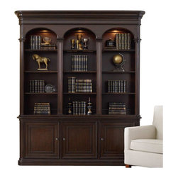 Hooker Furniture - Hooker Furniture Colonnade Bookcase with Hutch in Ebony - Hooker Furniture - Bookcases - 51341026510267KIT - Work smarter live better with functional stylish and comfortable home office furniture from Hooker Furniture. Since your work environment directly impacts the quality of your work surrounding yourself with beautiful and inspiring furnishings that help you be organized and productive is one of the best investments you can make and one that you will appreciate every day.