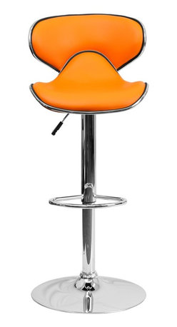 Flash Furniture - Flash Furniture Barstools Residential Barstools X-GG-GRO-518-SD - This may be the most comfortable and attractive stool out there with its ergonomically curved seat and back. The mid-back design will allow you to relax your back. You're sure to receive compliments with this stool in your home. The easy to clean vinyl upholstery is perfect when being used on a regular basis. The dual purpose design performs as a counter height stool or a bar height stool. The height adjustable swivel seat adjusts from counter to bar height with the handle located below the seat. The chrome footrest supports your feet while also providing a contemporary chic design. [DS-815-ORG-GG]