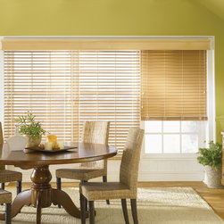 Wood, Faux Wood and Fabric Blinds - Premium Faux Wood Blind: Natural 2036; Noble wood cornice natural 1036