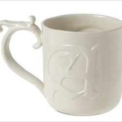 """Alphabet Mug, Letter, A - Each of these one-of-a-kind gift mugs features a different letter design, handle style and cup shape. 5-6.5"""" long x 3-3.5"""" wide x 4-6.5"""" high; 10-16 fluid-ounce capacity Hand-formed molds made of glazed stoneware. Microwave- and dishwasher-safe."""