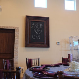 """Superstition Manor Wedding & Event Hall - Write your special date or leave a hashtag for guest to use. A magnetic chalkboard is very versatile and gorgeous. (Specs: 8.5"""" Silverton profile in Antique Brown with magnetic chalkboard 24"""" x 36"""" int dim 41"""" x 53"""" ext dim)"""