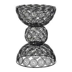 Safavieh - Almeria Stool - Infused with soft curves, the Almeria iron wire stool embraces a quiet geometry. The clean, modern lines of the black epoxy pattern are gently and playfully balanced with the organic, sinuous shape of circles to create a design that lends versatile charm for contemporary interiors. Use Leila as a handy extra perch or side table.