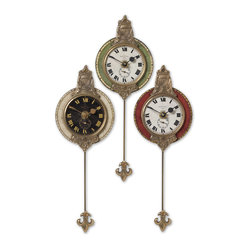 Uttermost - Monarch Wall Clock, Set of 3 - Here's your chance to know the exact time in three different time zones. This set of wall clocks can be hung together so you'll never have to do the math ... hmmm, is Paris seven or nine hours ahead? Or separately.