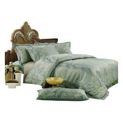 Dolce Mela - Duvet Covet Set Jacquard Luxury Linens Dolce Mela DM447, Queen - Lavish luxury is offered with this classic European design featuring elaborate paisley motif on percale jacquard cotton duvet cover with rich texture and depth and reverses to solid color with embroidery border.